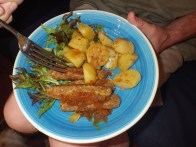 Glamorgan sausages with garlic potatoes and lettuce