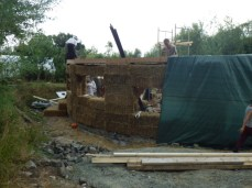 Sunday - the top wooden plate has been lowered onto the bales