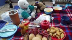 Homemade goodies... bread, cheese, Glamorgan sausage rolls, sweet chilli sauce, mayonnaise...