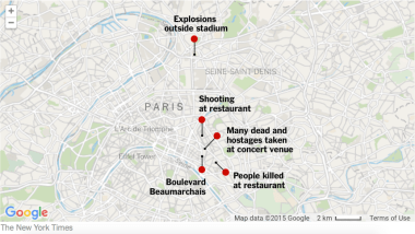 Location of explosions in Paris. Photo courtesy of New York Times