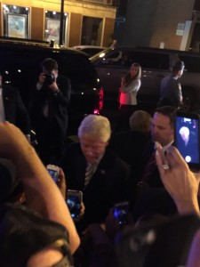 Bill Clinton shook hands with a few more people on the way to his car. (Allie Remis/Snapper)