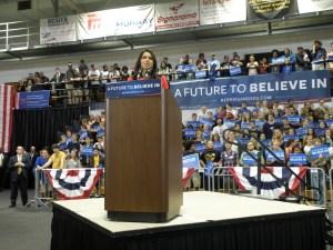Representative Tulsi Gabbard showed her support of Sanders. (Allie Remis/Snapper)
