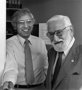 """On the left: Robert C. Gallo, M.D., former Biomedical Researcher at  the National Institutes of Health. He is best known for his work with the Human Immunodeficiency Virus (HIV), the infectious agent responsible for the Acquired Immune Deficiency Syndrome (AIDS). On the right: Albert B. Sabin, M.D., discoverer of the penicillin vaccine.  In 1961, the United States Public Health Service endorsed his """"live"""" polio-virus vaccine. Prepared with cultures of attenuated polio viruses, it could be taken orally to prevent contraction of the disease. It was this vaccine that effectively eliminated polio from the United States."""