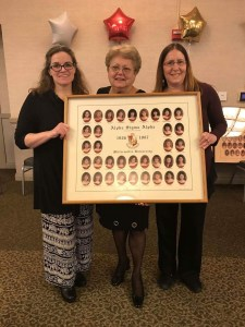 Mrs. Paula Foreman poses with ASA charter members Roseann Gambino-Kolgan and Linda Hamlin-Catalani and the first composite picture ever taken of the chapter. Photo courtesy of Casey Colsher.
