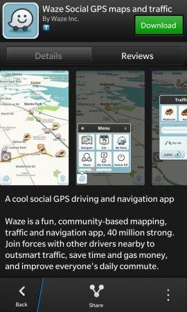 le navigateur gps social waze est disponible pour blackberry 10 thesnipper. Black Bedroom Furniture Sets. Home Design Ideas