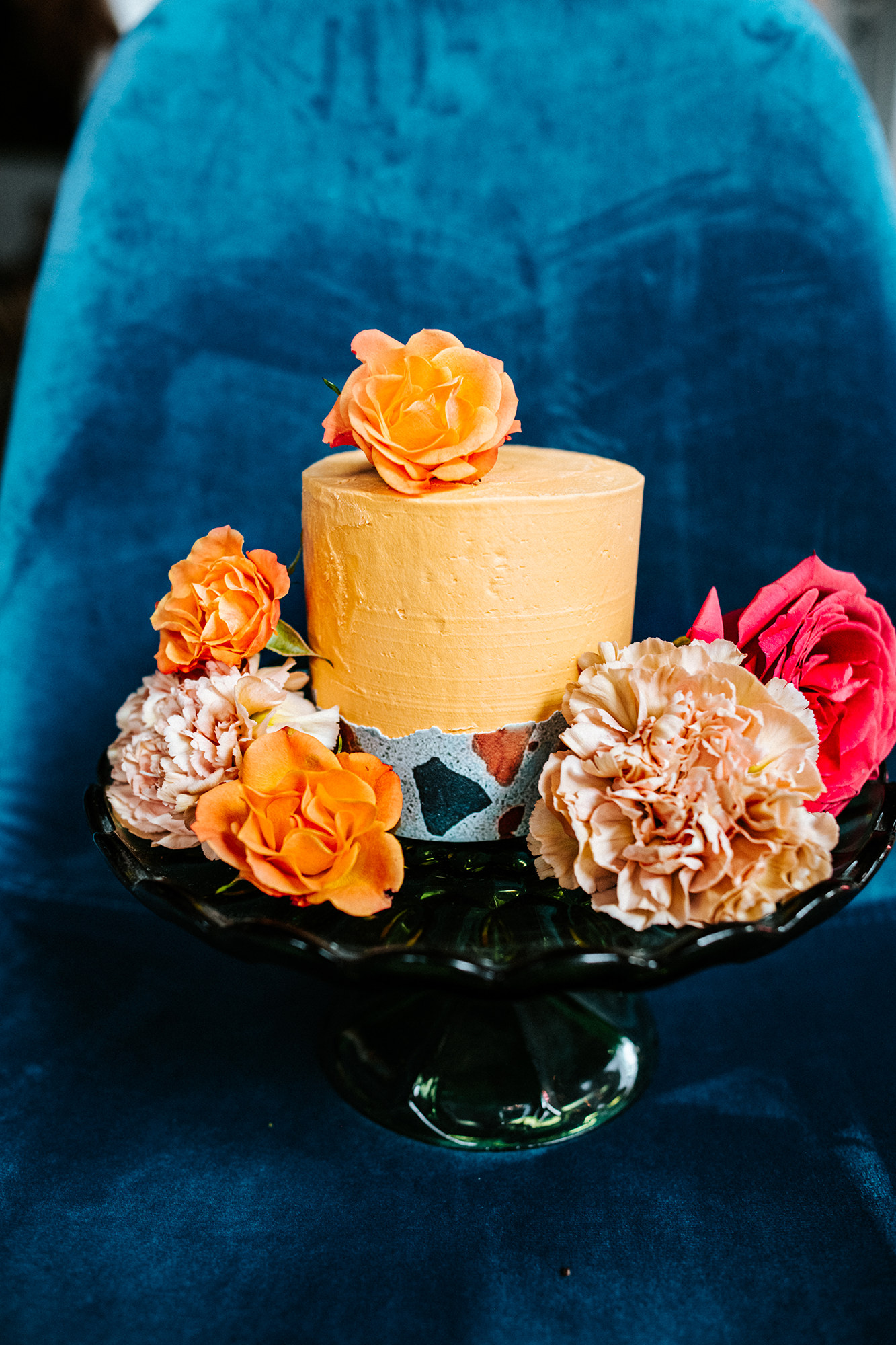Terrazzo cake with colorful flowers