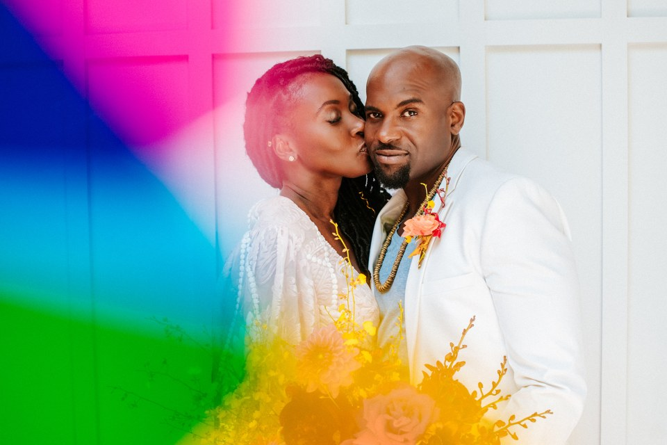 Black couple's rainbow wedding in San Diego