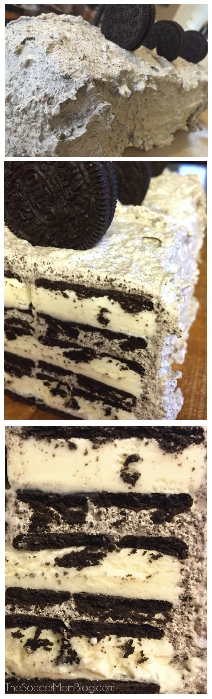 No-bake Cookies & Cream Ice Cream Cakes is easy and delicious-- the perfect party dessert!