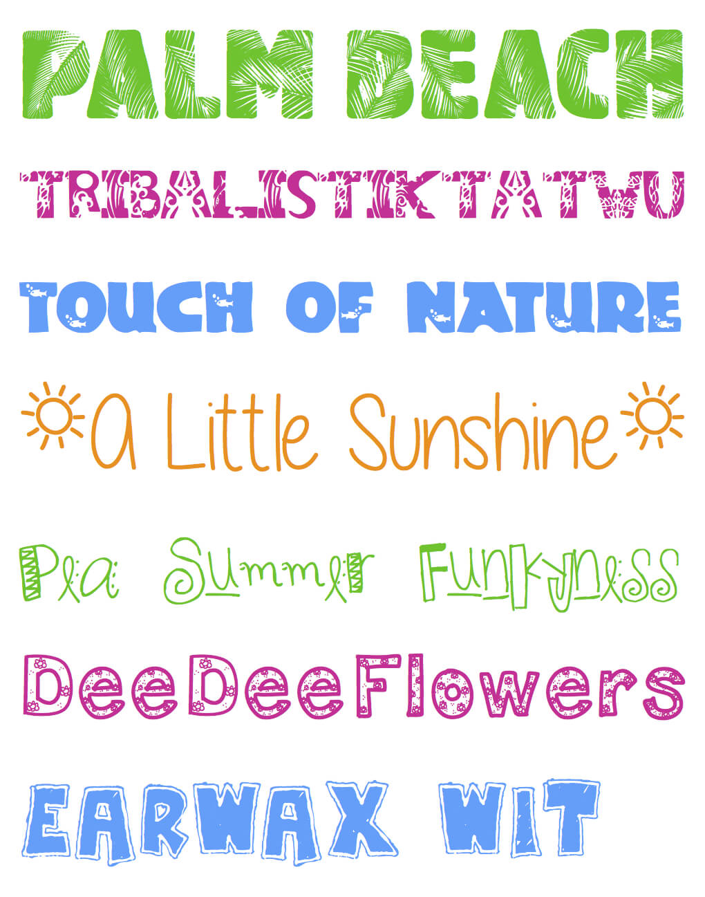 Seven FREE Fun-in-the-Sun Summer Fonts