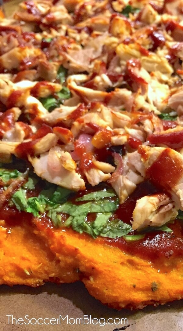 ngs I've eaten in a LONG time-- healthy or not! (But it IS healthy!) Barbecue Chicken Pizza with Sweet potato crust is gluten free, dairy free and packed with protein and veggies.