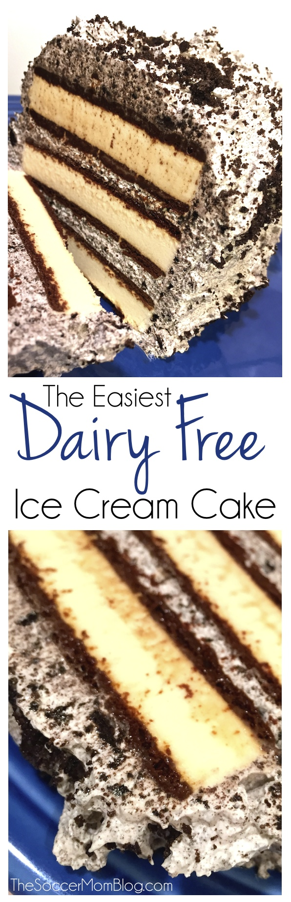 A dairy free version of the most popular recipe on my blog: Cookies & Cream Ice Cream Cake. So easy to make!