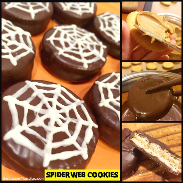 """Chocolate Dipped Peanut Butter Crackers aka """"Spiderweb Cookies"""""""
