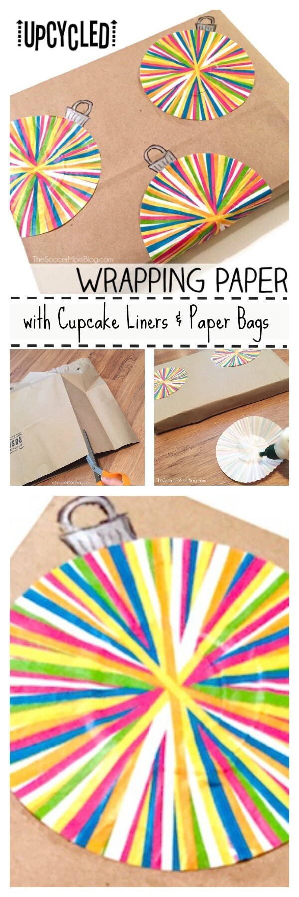 "This upcycled wrapping paper can be made entirely with things found in your kitchen! An easy and ""green"" Christmas DIY craft that's perfect to do with kids!"