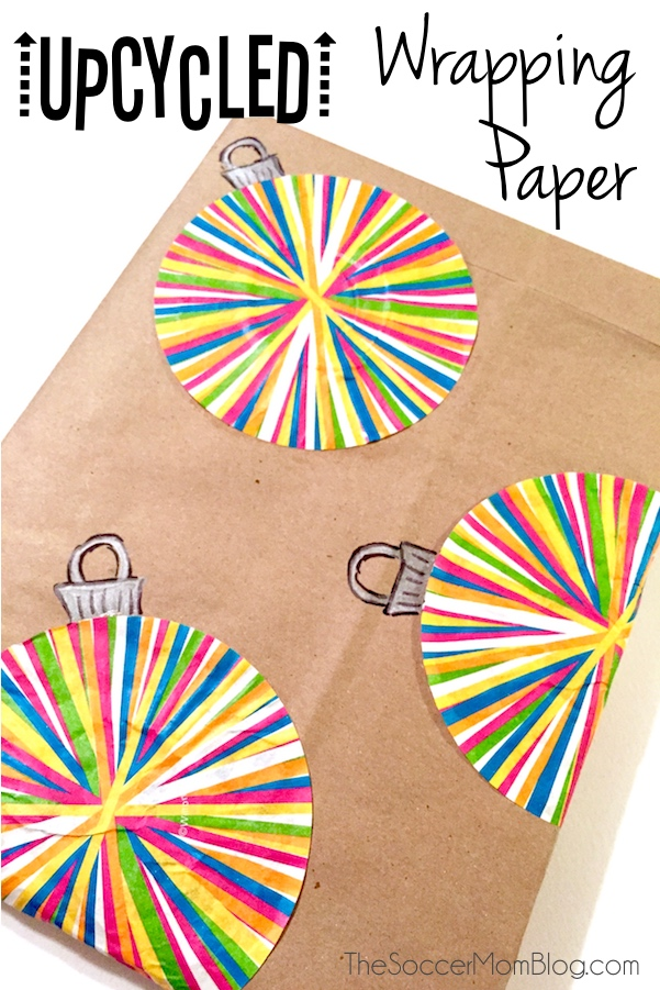 Easy homemade Christmas wrapping paper made with cupcake liners and recycled materials.