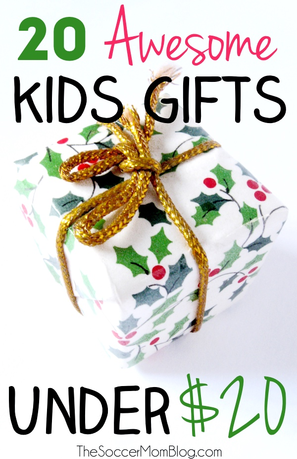Some of our favorite toys and games have been surprisingly inexpensive! This is a list of 20 awesome kids gifts under 20 dollars for all ages! Christmas presents for children, gift ideas, kids activities, games, toys, books.