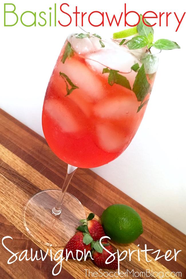 Basil Strawberry Sauvignon Spritzer