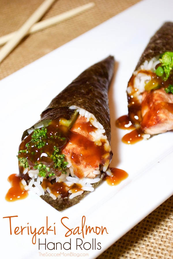 A fun spin on sushi that you can make at home! Teriyaki Salmon Hand Rolls are a simple, healthy seafood recipe that everyone in the family will love!