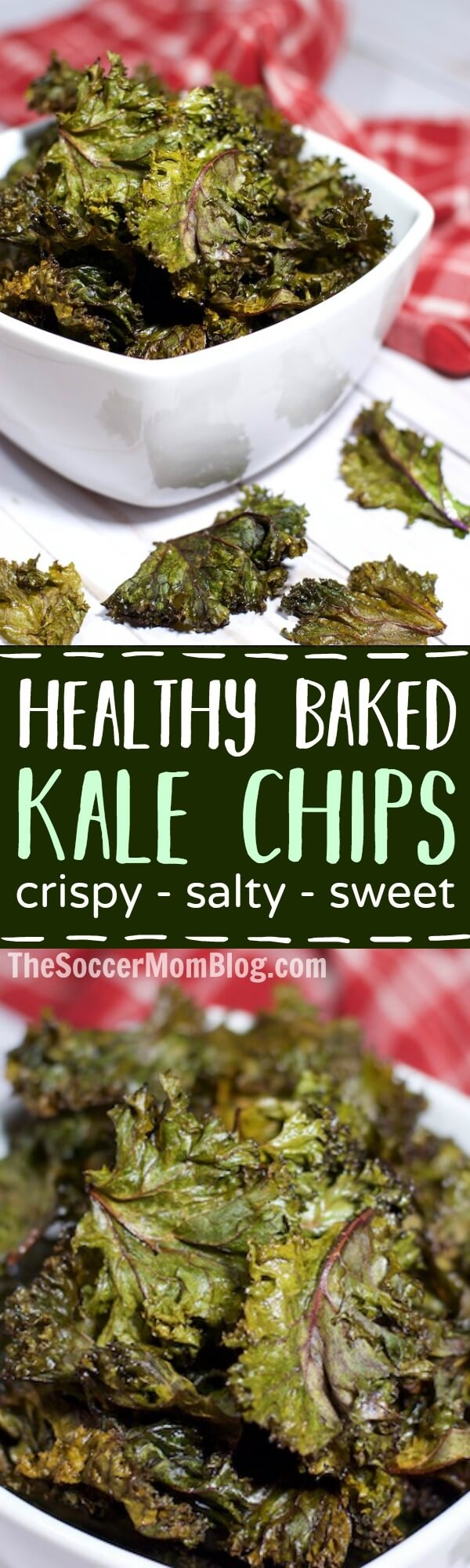 Crispy, salty, & a touch of sweet — these Baked Purple Kale Chips are so tasty you might just eat the whole batch! (But don't worry, they're good for you!)