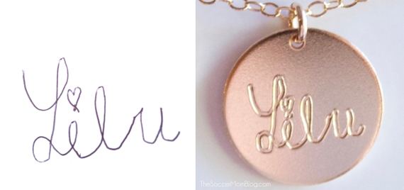 Absolutely stunning!! This gorgeous 14K gold handwriting necklace is personalized with your child's own signature -- a must-have for stylish moms!