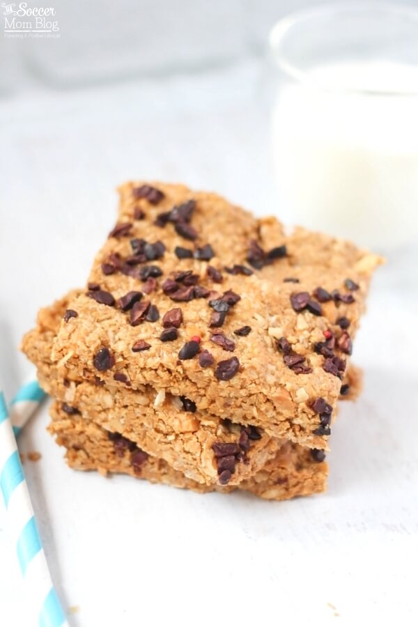 Healthy Peanut Butter & Chocolate Chip Granola Bars with a glass of milk