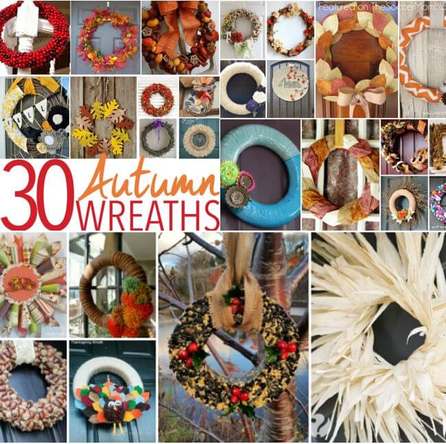 A collection of 30 gorgeous Fall wreaths from the most talented crafting & home bloggers on the web! Perfect for your Autumn decor or Thanksgiving party!