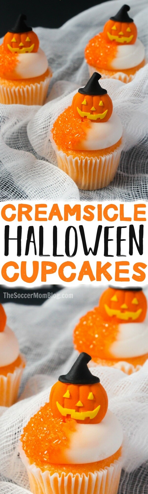 Orange Halloween Cupcakes with Jack-O-Lantern toppers - perfect for Halloween parties! Creamsicle flavored