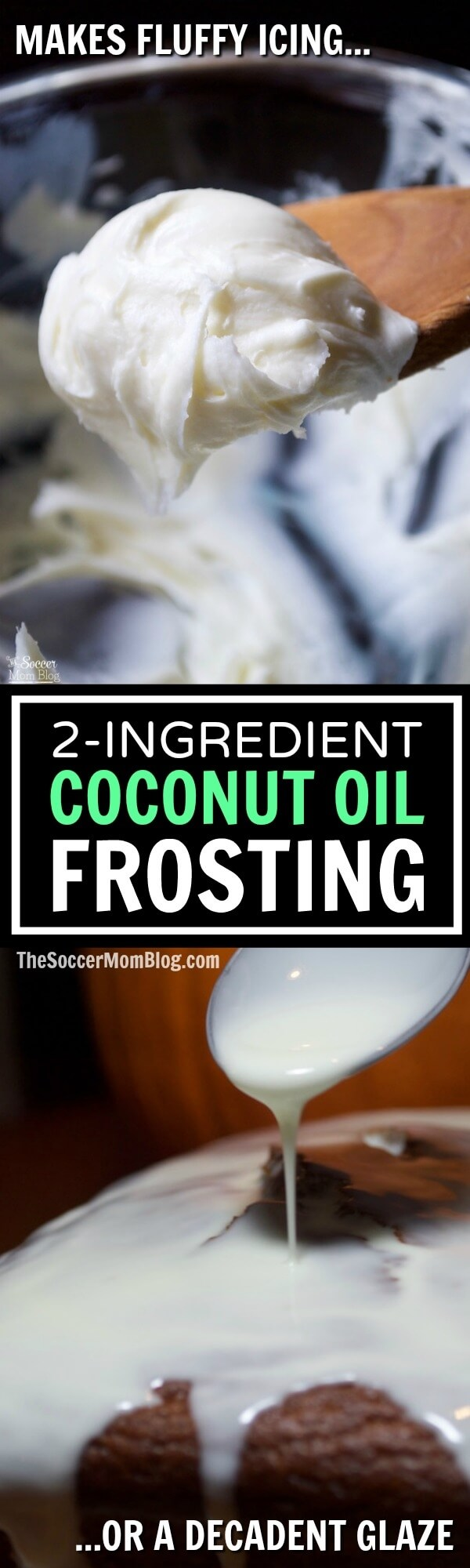 It really is like magic! ONE coconut oil frosting recipe creates two completely different types of frosting! Super EASY 2-ingredient recipe can be made with white or dark chocolate!