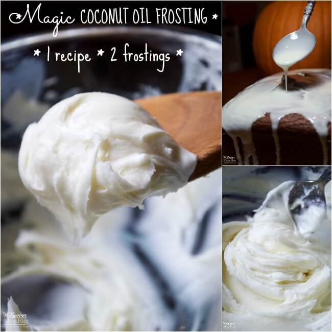 It really is like magic! ONE coconut oil frosting recipe creates two completely different types of frosting AND can be made with white or dark chocolate!