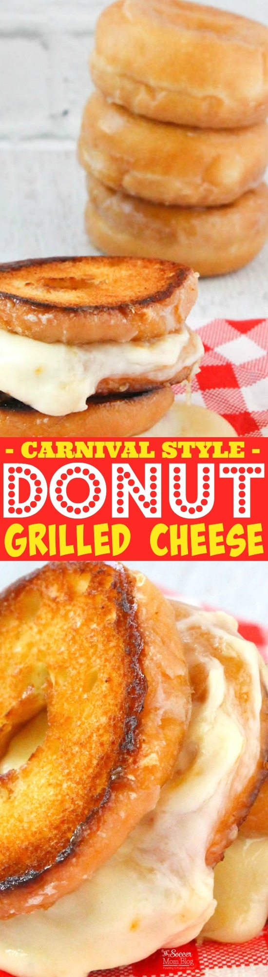 Just like you'd find at the state fair, this Donut Grilled Cheese will send you away into carb-y, cheesy bliss! Dessert, lunch, snack, anytime!