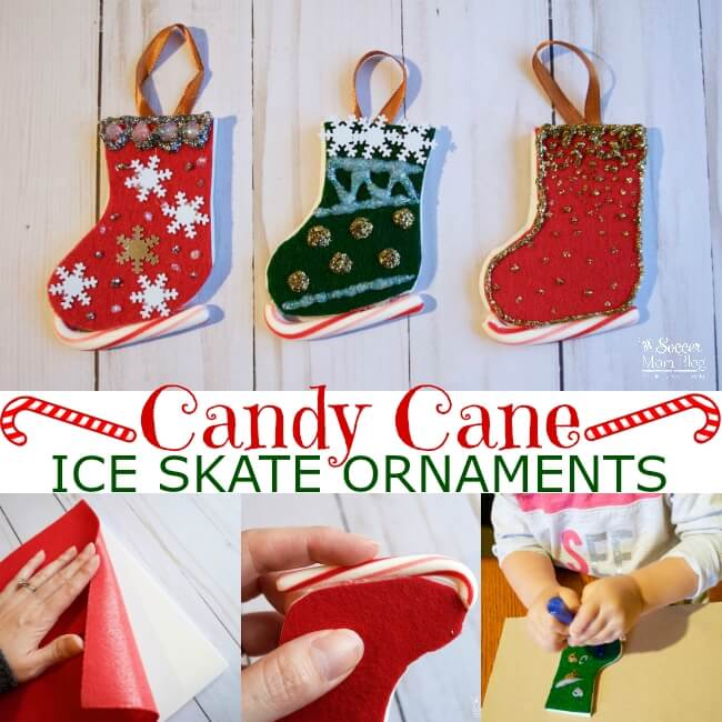 Your kids will have a blast making these Candy Cane Ice Skate Ornaments! The perfect simple Christmas craft for home or the classroom.