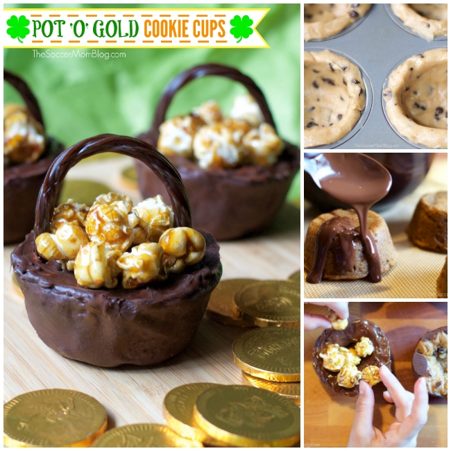 cookie cups decorated to look like pots of gold for St. Patrick's Day
