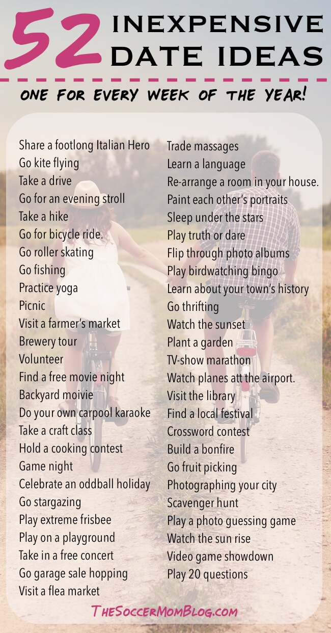 Build your marriage without breaking the bank -- You'll never run out of things to do with this list of creative and inexpensive date ideas! There's one for every day of the year!