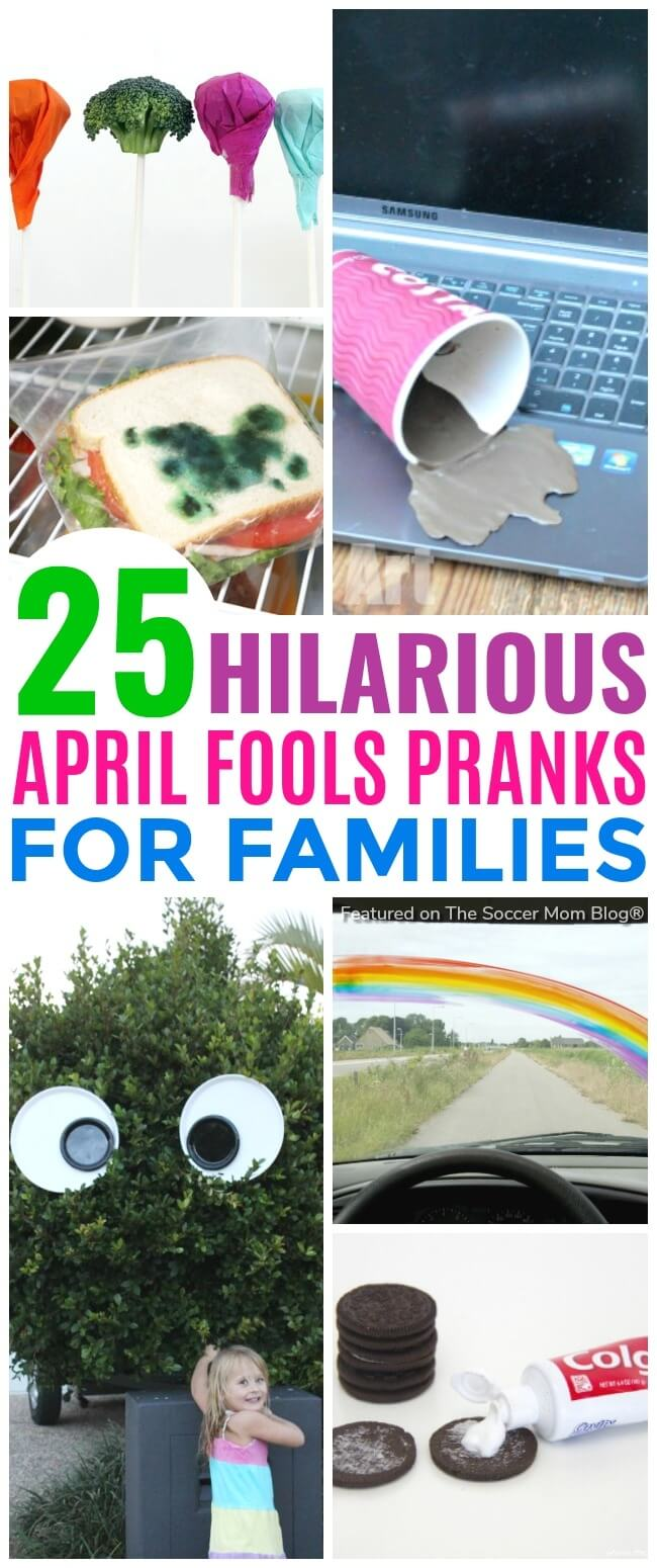 """Kids will LOVE being """"in"""" on these goofy jokes! A BIG list of friendly April Fools Pranks for kids that are FUN for EVERYONE! Updated for 2018! (nothing mean or scary here!) Updated for 2018!"""