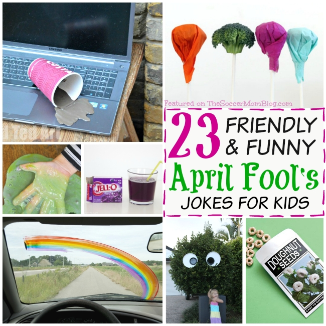 "Kids will LOVE being ""in"" on these goofy pranks! A fun collection of GOOD-spirited April Fools Day jokes for kids (nothing mean or scary here!)"