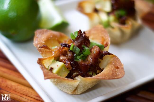 """Switch it up from the """"usual"""" barbecue this summer with these wildly flavorful Crispy Pork Belly Wonton Cups. Easy appetizer ready in 30 minutes or less!"""