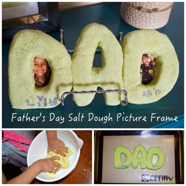 kid-made salt dough frame for father's day