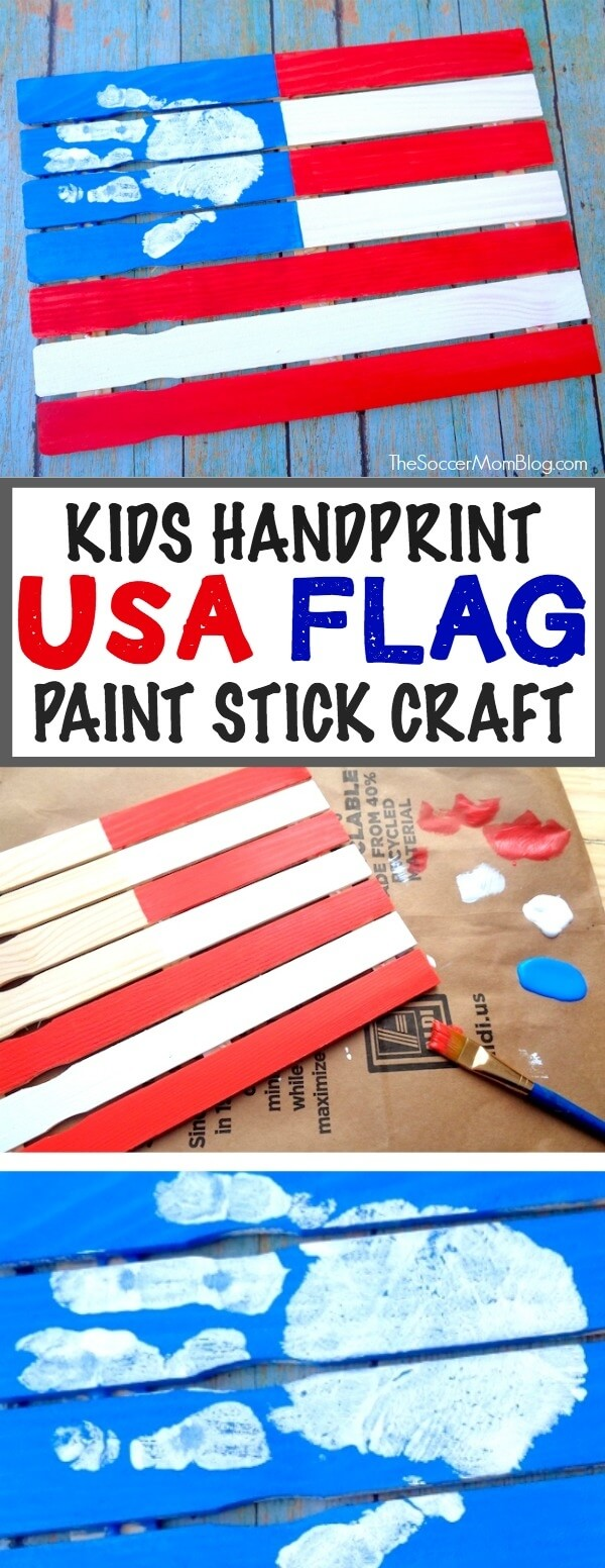 Such a cute patriotic keepsake!! Make thisPaint Stick American Flag Handprint Craft with your toddler for 4th of July or Memorial Day