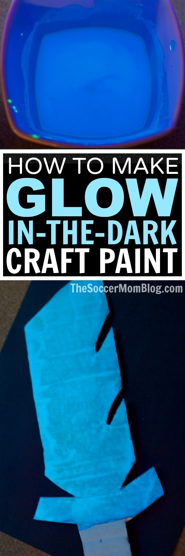 An awesome non-toxic glow in the dark paint recipe perfect for kids crafts. Easy to make with simple supplies, dries quickly & GLOWS with blacklight!