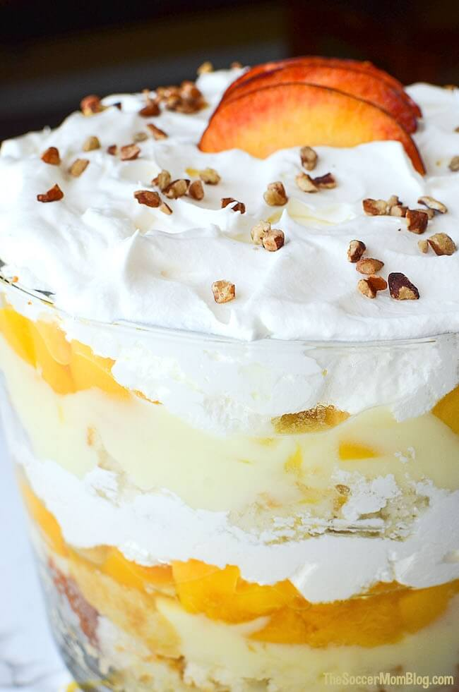 "This Vanilla Pecan Peach Trifle is a total show-stopper, but it's actually pretty easy to make (especially with a few box mix ""cheats"")"