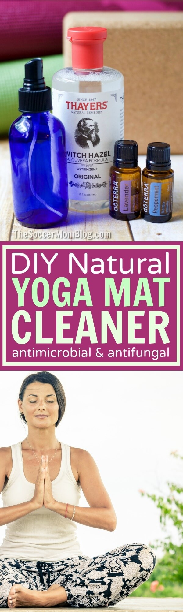 Save money and extend the life of your yoga equipment with this homemade all-natural yoga mat cleaner. Easy to make, antibacterial & anti fungal.