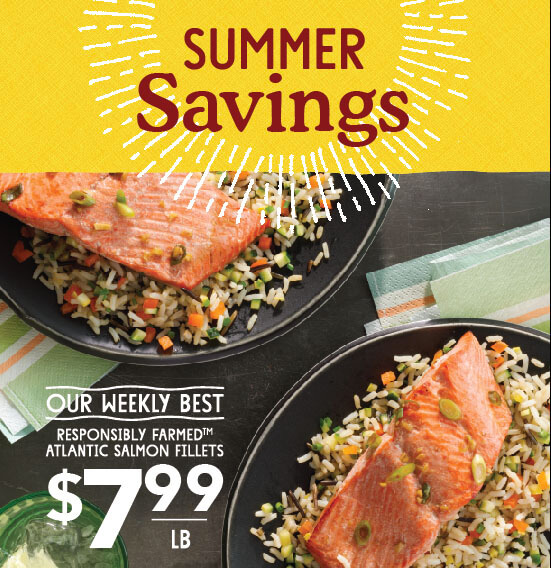 Atlantic salmon fillets at Whole Foods Market