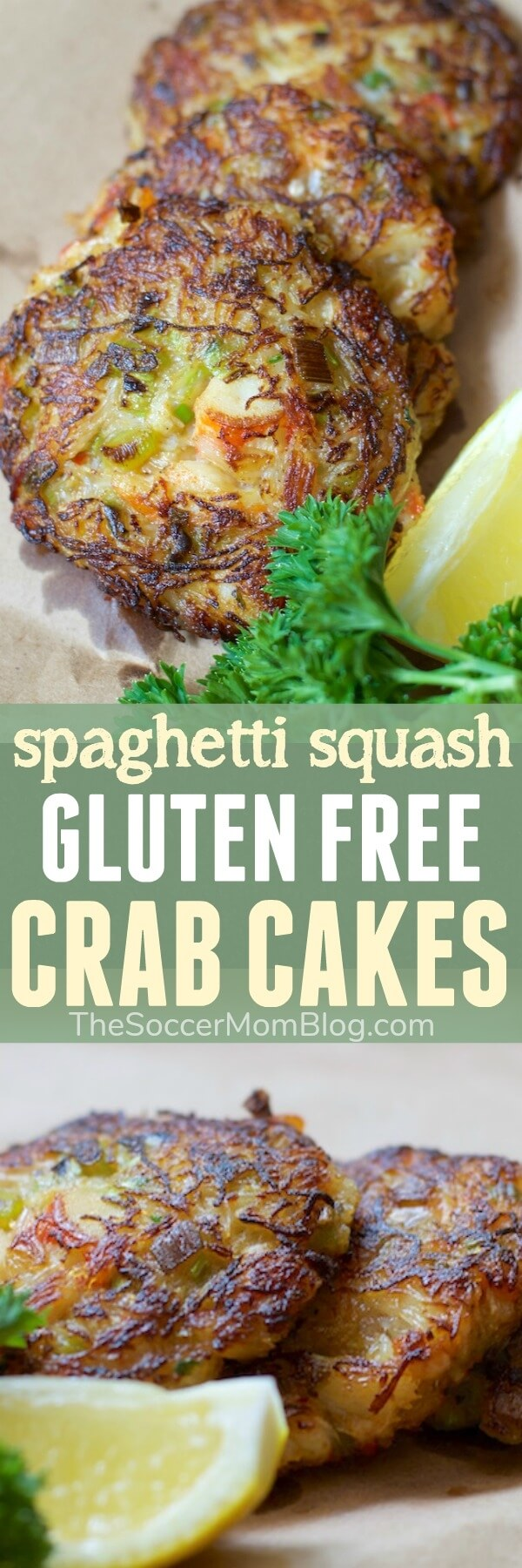 All good stuff and no filler! These gluten free crab cakes are made with TONS of crab, plus a spaghetti squash ingredient swap makes them lower in carbs!