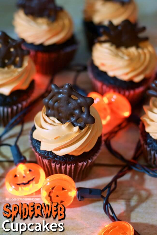 Chocolate spiderweb halloween cupcake toppers the soccer for How to make halloween cupcakes from scratch