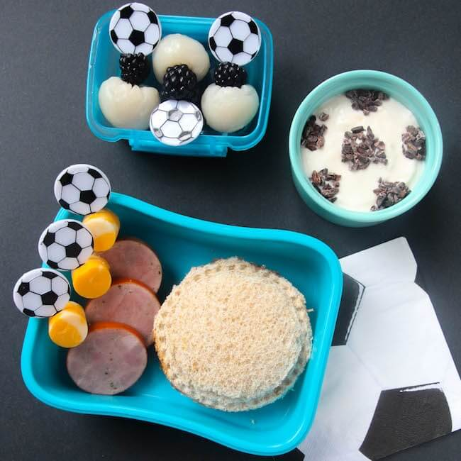 Healthy Soccer Themed Bento Lunch for Kids