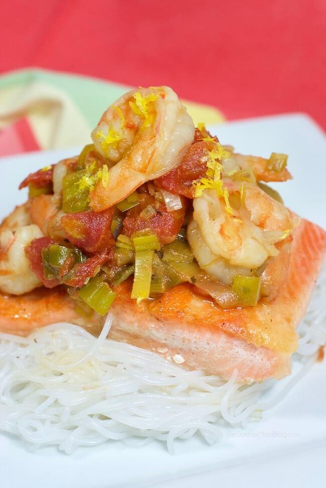 Citrus Leek Salmon & Shrimp over vermicelli noodles