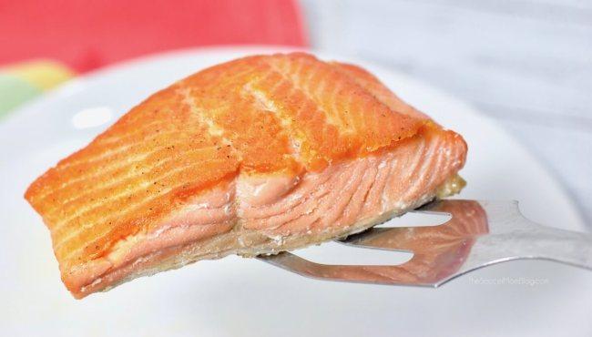 Pan seared salmon on plate