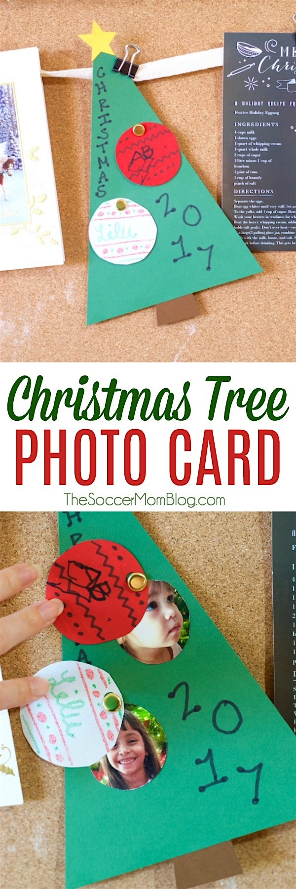 This kid-made photo Christmas tree card is a keepsake that friends and family will treasure for years to come! Easy paper craft with simple supplies.