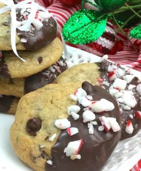 Chocolate-Dipped Peppermint Chocolate Chip Cookies