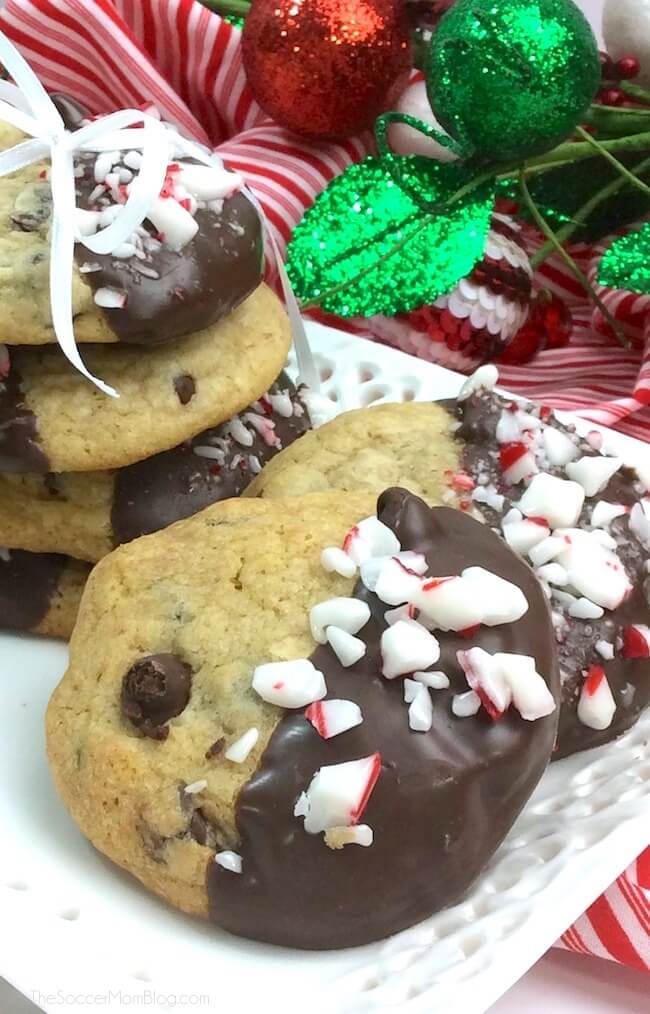 These Chocolate Dipped Peppermint Chocolate Chip Cookies take a classic cookie recipe and make it SO much better! A peppermint mocha lover's dream!