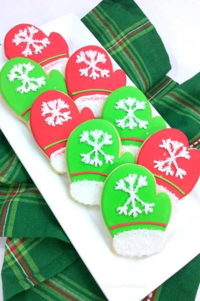 Christmas Mitten Sugar Cookies